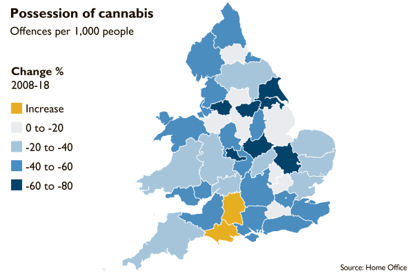uk possession cannabis chart